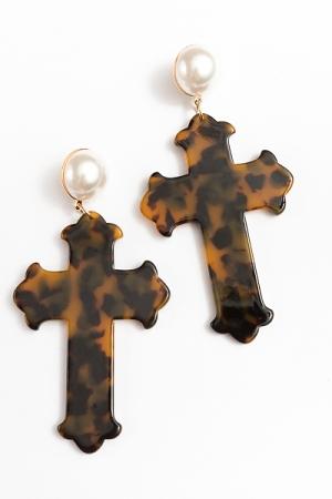 Acrylic Cross & Pearl Earrings, Tortoise