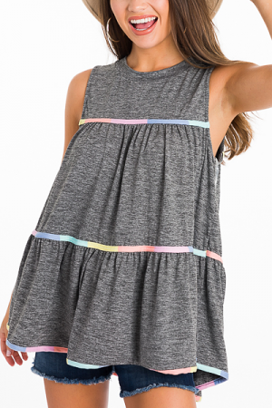 Color Piped Tank, Gray