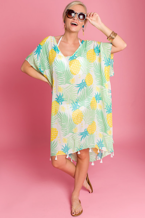 Pineapple Print Cover Up