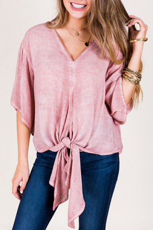 Pink Dyed Tie Top