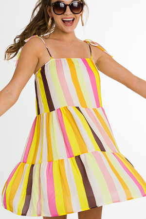 Summer Stripes Dress, Yellow