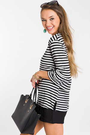 Ruffle Sleeve Striped Top, Black