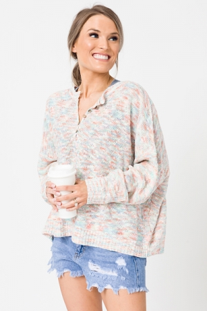 Colorful Henley Sweater