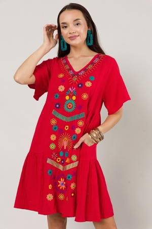 Gauze Embroidery Dress, Red