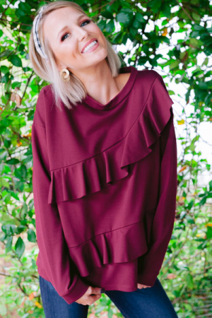 Ruffled Ponte Top, Wine