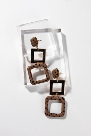 Animal Dots Earrings, Brown