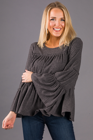 Heather Tiered Top, Charcoal