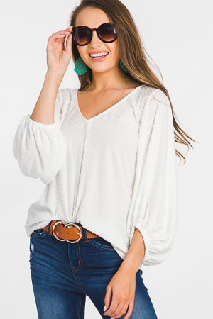 Flocked Dots Top, White