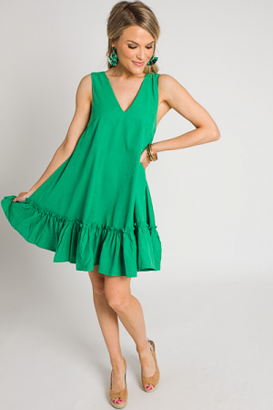 Creamy Drop Hem Dress, Green