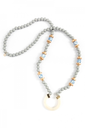 Beaded Circle Necklace, Gray