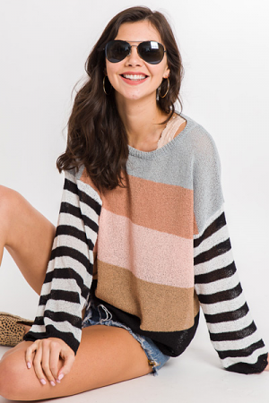 Spring Into Stripe Sweater, Black