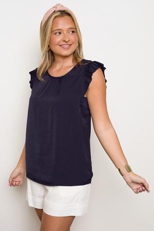 Silky Pleat Sleeve Top, Navy