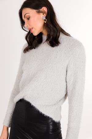 Fuzzy Crop Sweater, Gray