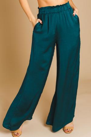 Silky Wide Leg Pants, Green