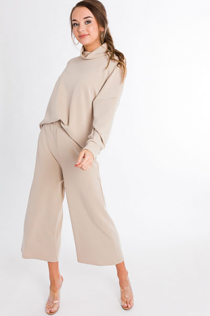 Soft Knit Wide Leg Pant, Taupe