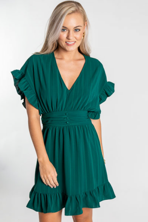 Laura Flounce Dress, Hunter