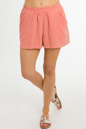 Pull on Shorts, Peach Crepe