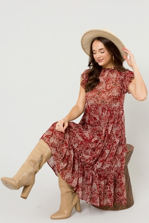 Belted Paisley Midi, Red