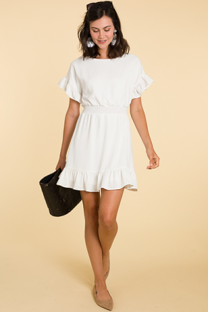 Solid Smock Dress, White