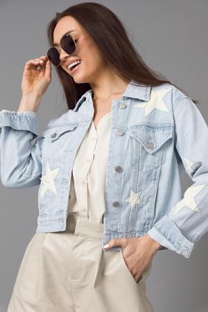 Leather Stars Denim Jacket