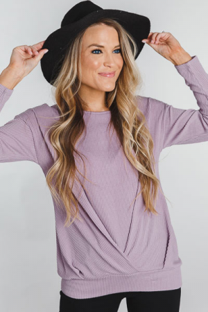 Ribbed Twist Pullover, Lavender