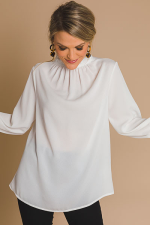 Above It All Ruffle Blouse, Off White