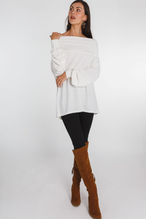 Off the Shoulder Tunic, Cream