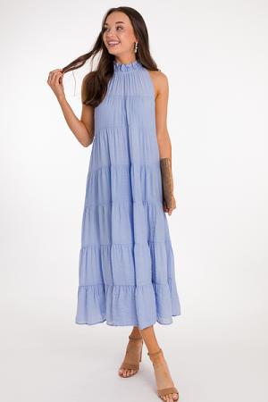 Tiered Pocket Midi Dress, Blue