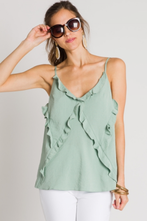 All the Ruffles Cami, Sage