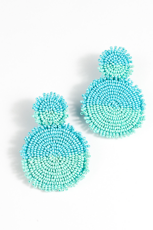 Double Blue Discs Earring