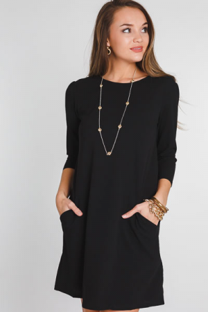 Classic Casey Pocket Dress, Black