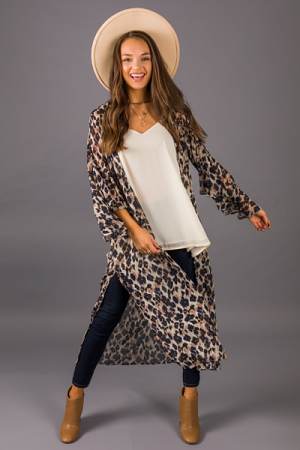 Animal Long Kimono, Navy Mix