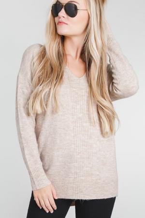 Dreamer V Sweater, Taupe