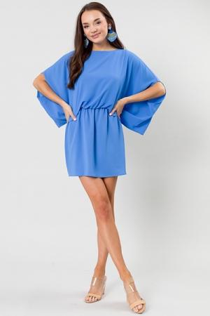 Draped Overlay Dress, Blue