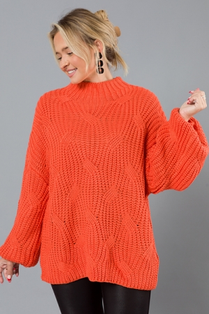 Cable Knit Sweater, Orange