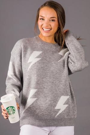 Thunder Bolts Sweater, Gray