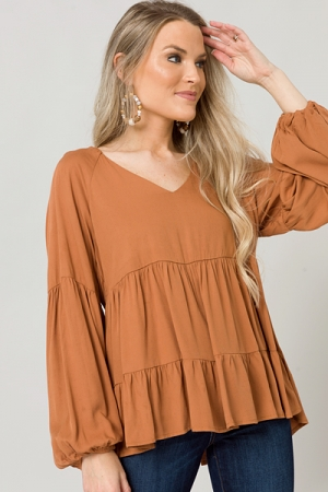 Mikayla Woven Top, Camel