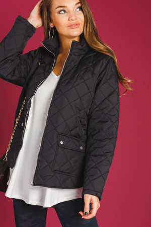 Quilted Diamond Jacket, Black