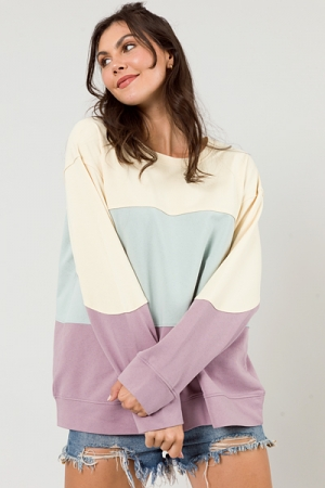 Blocked Tunic Sweatshirt, Lavender