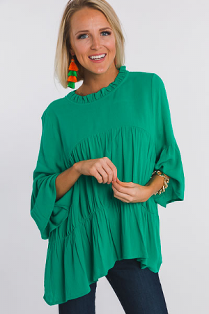 Kelly Green Tiered Blouse