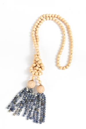 Beaded Tassel Necklace, Navy
