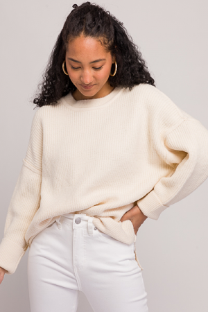 Luna Solid Sweater, Ivory
