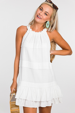 Pleated Lines Dress, White