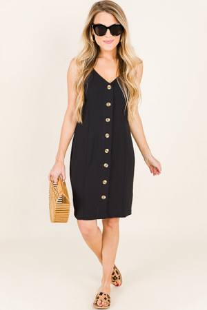 Echo Buttons Dress, Black