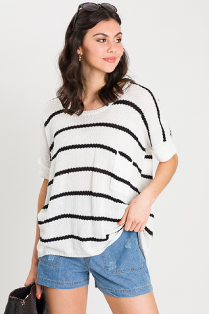 Loose Knit Sweater, Black Stripe