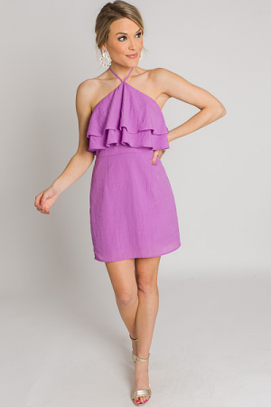 Ruffle Neck Halter Dress, Lavender