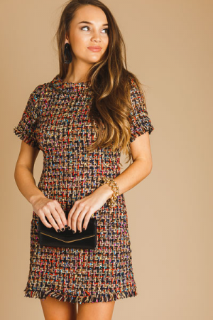 Metallic Fringe Tweed Dress
