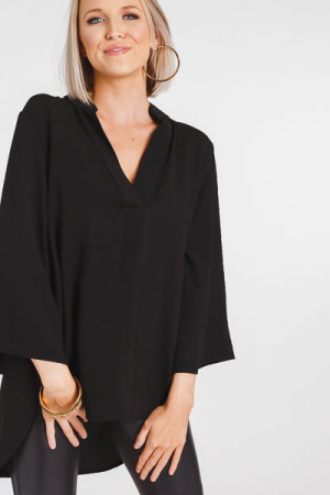 Simply Chic Woven Blouse, Black