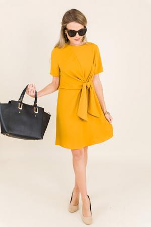 Simple Tie Dress, Mustard