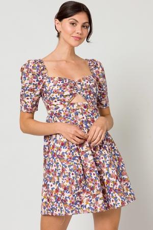 Cutout Floral Dress, Pomegranate